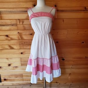 1970s d.b.a.-I.a. Red & White Cotton Summer Dress